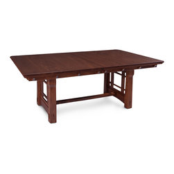 MaKayla Trestle Table - Custom made in your choice of 8 American hardwoods available in 18 different finishes. Price varies with wood selection.