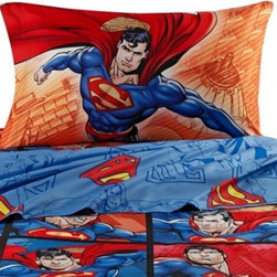 Franco Manufacturing Company, Inc. - Superman Sheet Set - Your child will soar through the air as soon as his head hits his pillow with the Superman Comforter, Sheets and Bath Collection. With Superman graphics on his bed sheets and bath towels, your little one will easily conquer bath time and bed time.