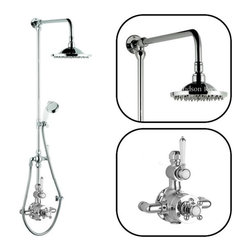 "Hudson Reed - Ceramic & Chrome Thermostatic Shower System With Rose Head and Rigid Riser Kit - The Hudson Reed Traditional 0.7"" (18mm) Grand Rigid Riser Kit with Twin Thermostatic Shower Faucet Valve complements the appearance of any bathroom furnished in traditional style."