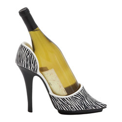Jungle Print Shoe Wine Holder with Stiletto Design - Exquisitely designed to offer versatile style, this Shoe Wine Holder makes a great choice for all kinds of homes and settings as it features a distinctive design. This wine holder has a versatile appeal which makes it ideal for blending in with all kinds of settings. The holder is designed with sleek lines and minimal detailing which gives it a neat and attractive appearance. Sporting a natural polystone finish, it has a subtle style that can accent interiors. It is crafted to hold wine bottles firmly to stop spillage and can be mounted on the wall to help save space. Made from top quality polystone, the holder has a sturdy make that is sure to last a long time. This wine holder will flaunt your taste and style in beverages and win you appreciation for your exquisite taste. It comes with a following  dimension