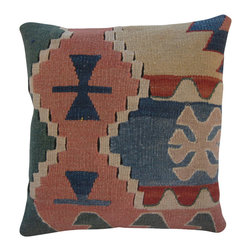 Turkish Import - Geometric Design Turkish Kilim Pillow Cover - DECORATIVE Kilim THROW PILLOW Cover.  This Turkish Pillow Case was hand woven in delicate colors of soft blues and salmon.  Please note:  Pillow inserts are not included.