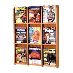 Wooden Mallet - Oak & Acrylic Magazine Wall Rack w Nine Compa - Finish: Medium OakPre-drilled with hardware included for simple wall mounting. Furniture quality construction with solid oak uprights and clear acrylic pocket front panels. Pictured in Medium Oak . No assembly required. Optional floor stand not included. 2.875 in. D x 30 in. W x 36.875 in H (30 lbs.). Floor Stand: 16 in. D x 2 in. W x 53 in. H (10 lbs.). 1-Year warrantyWooden Mallet's Oak & Acrylic Wall Displays will add warmth and class to your magazine and literature collection. Clear acrylic panels allow full view of literature while keeping it neat and organized. money