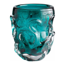 Cyan Blue Turquoise Art Glass Vase - Small - * Chagall Vase
