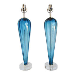 Pair of Vintage Blue Murano Teardrop Lamps - Pair of newly restored vintage blue murano glass lamps with a reversed teardrop shape with Lucite bases.