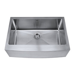 """Kraus KHF200-30 29-3/4"""" Farmhouse Single Bowl 16 Gauge Stainless Steel Kitchen S - No other brand does sleek and strong better than Kraus. The Kraus Kitchen Sink collection offers a vast selection of premium stainless steel sinks for everything from the single chef kitchen to the kitchen built to host large family dinners. Kraus kitchen sinks are made from commercial grade 16 gauge stainless steel to handle the daily wear and tear of a bustling kitchen. Homeowners are guaranteed rust resistant surfaces, reliable performance, and superior durability. In addition to quality craftsmanship, most Kraus kitchen sinks come with bonus accessories including an industrial sized basket strainer, sink grid, and signature Kraus dish towel. Available in an assortment of single bowl and double bowl configurations, the Kraus Kitchen Sink Collection has a fit for every lifestyle."""