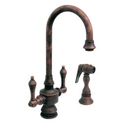 Whitehaus Collection - Antique Copper Whitehaus WHKSDLV3-8104 Antique Style Kitchen Prep Faucet & Side - Attractive mixture of historical elegance and modern d?cor details makes this kitchen faucet timeless. Antique style gooseneck prep kitchen faucet with side spray by Whitehaus is sophisticated detail in your kitchen. Matching antique designed side spray will provide more flexibility for all kitchen tasks. It fits perfectly wide range of traditional kitchen decors.