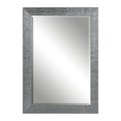 "Uttermost - Tark Silver with a Gray Glaze Rectangular Mirror - Frame Has A Textured, Silver Finish With A Light Gray Glaze. Mirror Is Beveled. May Be Hung Horizontal Or Vertical. Frame Dimensions: 29.875""W X 41.875""H X 0.875""D; Mirror Dimensions: 24""W X 36""H; Finish: Silver Finish With A Light Gray Glaze; Material: MDF; Beveled: Yes; Shape: Rectangular; Weight: 28; Included: Brackets, Ready to Hang Vertically or Horizontally"
