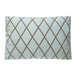 Velvet Ribbon Diamond Pillow - Ice/Taupe - A traditional pattern which goes from cottage to castle with equal appeal makes the Velvet Ribbon Diamond Pillow, a rectangular cushion in a clouded robin's egg blue overlaid with strips of deep taupe, as versatile as it is softly cheering. The diamond lattice fuses with the touchable nap of the ribbon to give a charming textured look to a pillow with a serene geometry that looks wonderful in eclectic settings or in more minimal transitional themes.