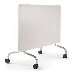 Steelcase - Steelcase | Groupwork Flip Top Table, 24-Inch - With a folding mechanism easy enough to be handled by one person, the 24-Inch Groupwork Flip Top Table offers the ultimate in versatile, portable work spaces. The Flip Top Table's uncluttered work surface can be used as a personal desk or a conference table, as a single surface or joined in multiple rows. The simple profile features a release latch that allows for one-person operation, offering a table top surface when you need it and easy storage when you don't.  Available in three table top sizes with table top finish options and platinum finish legs. Product Features:  Integrated release latch allows for one-person operation Multiple tables can be nested for space-saving storage Table top offered in three sizes Standard platinum leg finish Table top finish options Folded table stores away to fit into a variety or interior spaces