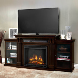 Real Flame - Dark Walnut Finish Ashley Fireplace Entertainment Center - The Ashley Entertainment Mantel features ample storage with its drop down center glass door and dual side cabinets. The adjustable shelving accommodates most electronics and other objects. The Vivid Flame Electric Firebox plugs into any standard outlet.