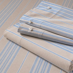 Oxford Multi-stripe Bedding, Blue - With great reviews and an endorsement from Good Housekeeping, these sheets are great for boys and more neutral rooms.