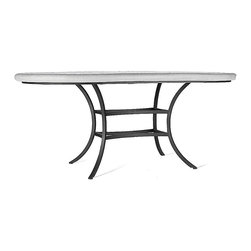 """Frontgate - Mahogany Atlas Oval Outdoor Outdoor Bistro Table - Black, 72"""" x 42"""" Oval, Patio - Mosaic tabletops feature up to 3,500 tiles of opaque stained glass, marble and travertine organic and geometric tiles that are individually cut and placed by hand. Tops are cast into a proprietary stone blend allowing for striking beauty that years of exposure to the elements will not fade. Mosaic designs are simple to maintain by using a natural look penetrating sealer once or twice a year. Polyester powdercoat is electrostatically applied to aluminum chairs and table bases and then baked on for an impeccable, weather-resistant finish. Aluminum Seating is paired with element enduring Sunbrella cushions offered in a variety of coordinating colors (cushions sold separately). Our expressive and masterful Mahogany Atlas Mosaic Tabletops from KNF-Neille Olson Mosaics boast iridescent waves of color, deep sophisticated hues, fresh designs and durability measured in decades. These qualities separate Neille Olson's celebrated mosaic tabletops from the ordinary--giving each outdoor furniture piece its own unique character.. . . . . Note: Due to the custom-made nature of these tabletops, orders cannot be changed or cancelled more than 48 hours after being placed."""