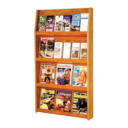 Wooden Mallet - Four-Tier Wall Mount Magazine Rack w Removabl - Finish: Dark Red MahoganyPerfect for convenience stores, doctor's offices, salons, rest stops or hotels, this stylish wall-mount magazine rack easily displays magazines and brochures for easy visibility and access. The four-tier piece features removable dividers and is available in your choice of finish options. An optional floor stand is also available. Pre-drilled with hardware included for simple wall mounting. Removable dividers keep literature and magazines neat and orderly. Can be as much as 24 dividers. Displays 4 in. brochures or 8.5 in. x 11 in. and wider literature. Furniture quality construction with solid oak sides and shelves sealed in a durable state-of-the-art finish. Pictured in Medium Oak. No assembly required. 4.75 in. D x 28.5 in. W x 49 in. H (30 lbs.). Floor Stand: 16 in. D x 7.5 in. W x 2 in. H (10 lbs.). 1-Year warrantyWooden Mallets full-view literature displays are a classic and beautiful way to display your literature. Slanted back shelves allow full view of literature while keeping it neat and organized. money