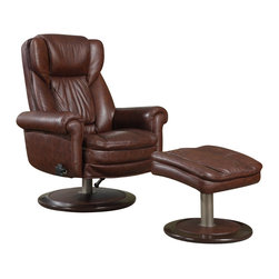 Serta by True Innovations - Serta Recliner and Ottoman in Brown Top Grain Leather - Serta by True Innovations - Recliners - CR43503 - For more than 75 years, Serta has been an industry leader in comfort products worldwide. That tradition of innovation and quality continues today. From a brand that is synonymous with quality, comfort and style, the Serta Premium Recliner and Ottoman is upholstered in a luxurious and supple rich brown top grain leather. The deep, ergo layered gathered body pillows to offer the body a serene and tranquil seating experience. Soft upholstered pads for added hand, wrist, and forearm comfort. The recline mechanism can swivel 360� and be locked out at your desired comfort angle with the simple twist of a knob. Both recliner and ottoman sit upon wooden circle bases finished in a rich Coffee Bean brown. 1 year limited warranty. Product assembly is required. Designed in the USA.