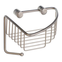 Sideline Collection Corner Soap Basket with Hook - This corner soap basket features a handy hook beneath it for hanging your shower sponge or washrag.  Great for a guest bathroom or master suite.