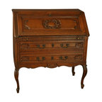 EuroLux Home - Consigned Vintage 1950 French Oak Secretary/Desk - Product Details