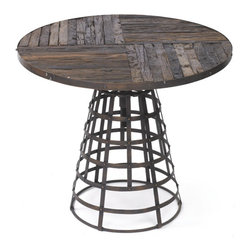 Westport Table - This outstanding and elegant Westport Table features a generous reclaimed wood surface with a swivel iron base and is available in natural, rustic finish.