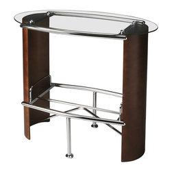 """Butler Specialty - Butler Kalla Dark Walnut Bistro Table - Butler Kalla Dark Walnut Bistro Table Chrome plated metal tube @31.8mm, 22.2mm,19.05mm with top 8mm clear tempered glass and aluminum cylinders. Bentwood sides in basswood finish. 39""""W x 22""""D x 38""""H"""