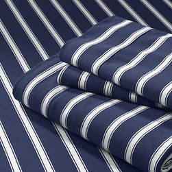 Knit Stripe Sheet Set, Navy Stripe - What is not to love about classic navy blue and white stripe linens?