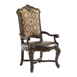 Lexington - Lexington Florentino Marcella Upholstered Arm Chair Set of 2 900-883-01 - Sumptuous form and classic styling set the tone for this sophisticated interpretation of a timeless design. The upholstered back features a Venetian gold and mocha brown woven pendant medallion pattern and gold cut velvet behind the splat back. Distressed warm brown leather seat with nailhead trim available only as shown. Matching side chair is available for guest seating.