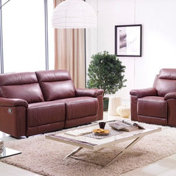 Isabella Italian Leather Reclining Sofa Set - Classic design meets upscale luxury in the Isabella Italian Leather Reclining Sofa Set. Featuring supple Italian leather upholstery, invitingly comfortable cushioned seating, and recliners in the sofa and loveseat.