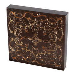 Brandi Renee Designs - Dark Brown & Copper Scroll Design Handpainted Wall Art, Wood Tile - This gorgeous hand painted piece is a beautiful art tile in gold and bronze with copper leaf scroll adornment.