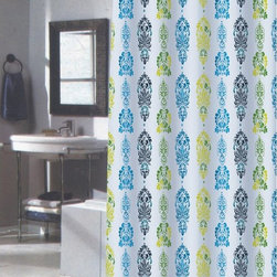 Other Brands - Carnation Home Fashions Olivia Fabric Shower Curtain - FSCXL-OLI - Shop for Shower Curtains from Hayneedle.com! Colorful and decidedly stylish the Carnation Home Fashions Olivia Fabric Shower Curtain is a delightful way to decorate your bath. A repeating damask pattern gets an update from fresh blue green yellow and black against a sea of white. This shower curtain is made of machine-washable polyester fabric and comes in your choice of size.Size Options:72L x 70W in.84L x 70W in.About Carnation Home FashionsYour home your style Carnation Home Fashions believes in this motto. That s why this home fashions company offers a wide range of on-trend and classic products designed for style and convenience. Perfect for matching today s busy lifestyles their bath products meet your needs in style. Carnation Home Fashions is based in Newburgh New York.
