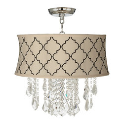 "Vienna Full Spectrum - Traditional Nicolli Clear 17"" Wide Cream Tile Crystal Ceiling Light - The Nicolli Clear semi-flushmount ceiling light features clear crystal elements and a chrome finish frame. The four-light design offers the timeless look of a chandelier and is updated with a stylish designer Moroccan tile print shade in cream. A wonderfully refreshing designer look for your living space.  Chrome finish frame and canopy. Cream fabric shade with Moroccan tile print. Clear crystal. Semi-flushmount ceiling light. Takes four 60 watt candelabra bulbs (not included). 19"" high. Chandelier only is 12"" wide 10"" high. Shade is 16"" across the top 17"" across the bottom 7"" high. Canopy is 5"" wide. Some assembly required; instructions included.  Chrome finish frame and canopy.  Cream fabric shade with Moroccan tile print.  Clear crystal.  Semi-flushmount ceiling light.  Crystal lighting from Vienna Full Spectrum.  Takes four 60 watt candelabra bulbs (not included).  19"" high.  Chandelier only is 12"" wide 10"" high.  Shade is 16"" across the top 17"" across the bottom 7"" high.  Canopy is 5"" wide.  Some assembly required; instructions included."