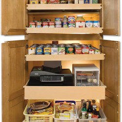 Pantry Pull Out Shelves - ShelfGenie pull out shelves are all custom made to fit your existing closets and cabinets.  Create an organized pantry and keep it that way!