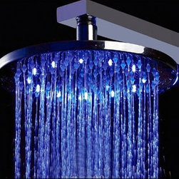 "Alfi brand - 10"" Round Multi Color LED Rain Shower Head - 10 in. Diameter head. No Batteries required.This high tech rain shower head powers the LED lights using a built in hidden dynamo. The lights will automatically turn on when water pressure is turned on. The lights will dim and brighten when you lower and raise the pressure. Auto Temperature Detected Light Color Change. The shower head will automatically change colors according to the temperature of the water. When water temperature is below 113'F lights glow BLUE.. When water temperature is between 114'F - 121'F lights glow RED.. When water temperature is over 122'F lights flash RED.. Never be scalded again by entering a shower that is just too hot. Standard size. Threading is universal so it will fit any standard shower head by simply unscrewing the old one by hand and attaching the new one. A shower arm is not included. . This head can be used with either wall or cieling mounter arm. Modern Stylish Design. Completely polished chrome finish made to match or stand out from your other bathroom fixtures.. This modern shower head is made out of brass, not plastic, so its made to last, not just to look good.Turn on the fun in your shower just by turning on the water, the LED lights will automatically light up and set the mood. They will even change colors automatically based on the water temperature. All this with no batteries, everything is self-powered by a built in dynamo that takes advantage of the water pressure to create the energy to light the bulbs."