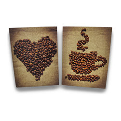 Zeckos - Coffee Beans Coffee Lovers Canvas Wall Art Hanging Set of 2 - Nothing brings a more personal touch to a room in your home or office than art, and these canvas prints will show off your love of coffee while providing a unique artistic accent that's sure to create an amazing effect in your kitchen, dining room, office or wherever your walls need a great work of art. This set of 2 prints will highlight your walls with vividly detailed coffee beans on a background of natural burlap that complements the brown beans and will warm up your home with their rich tones. Made of stretched canvas over a wood frame, this beautiful set features whole coffee beans in the shape of a heart and a steaming mug and saucer that would dress up the walls of any cafe or coffee shop, too at 15 3/4 inches high, 11 3/4 inches wide and 3/4 of an inch deep. This set would also make an excellent gift for both coffee lovers and connoisseurs alike