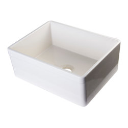 """ALFI - ALFI Biscuit 26"""" Decorative Lip Single Bowl Fireclay Farmhouse Kitchen Sink - ALFI brand fireclay farm sinks are a throwback to a simpler time. Designed to offer the traditional popular look of an apron farm sink with a contemporary twist. Made of the highest quality Solid fireclay to ensure it not only looks great but also lasts for a very long time."""