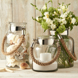 Lantern With Rope Handle: Small, Medium, & Large - Lantern - w/rope handle- Nickel Plated Iron Rims & Attachments to Rope Handles