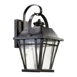 Quorum International - Quorum International 764-8 1 Light Down Lighting Outdoor Wall Lantern from the B - Transitional 1 Light Down Lighting Outdoor Wall Lantern from the Baxter CollectionDoes your outdoor area need extra light?  Quorum International can help! This fabulous 8 inch outdoor wall lantern from the Baxter collection is the perfect addition to the patio, porch or other outdoor space. A graceful, bent support arm holds the lantern, which features gorgeous clear seeded glass and strong lines surrounding it.  This fixture is UL listed for wet locations, so you can rest assured that it will stand the test of time.Features: