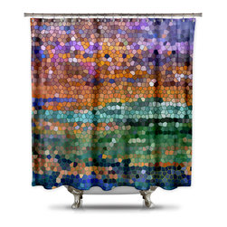 Shower CurtainHQ - Catherine Holcombe Egyptian Royalty Fabric Shower Curtain, Standard Size - This beautiful shower curtain with mosaic art will make anyone stop and stare.