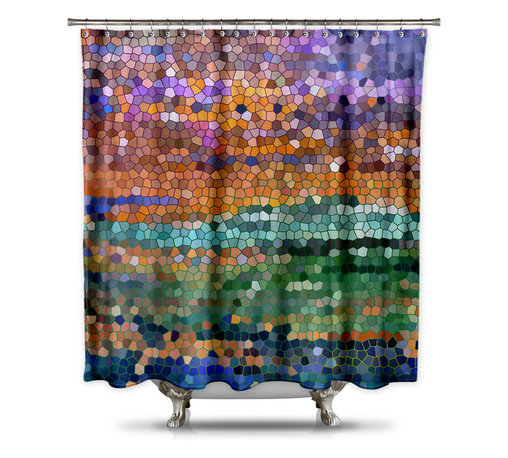 Shower CurtainHQ - Catherine Holcombe Egyptian Royalty Fabric Shower Curtain, Standard Size - This beautiful shower curtain with mosaic art will make anyone stop and stare. This digital design comes to you by California artist, Catherine Holcombe. The green and purple sparks of color in design will give your bathroom the color and waterproof artwork that it needs. The fabric is a thick quality polyester that hangs beautifully. This unique shower curtain is made in the USA and a portion of each and every sale goes back to the artist.