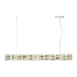 "LBL Lighting - LBL Scarlett Collection Gold Facet Suspension LED Chandelier - This modern metal suspension fixture is a formidable illustration in the arts of refraction reflection and diffusion. It features a linear gunmetal-finish frame filled with flawless faceted gold-plated rods that take LED bulbing to new levels of brilliance. Dimmable with a low-voltage electronic dimmer. Field-adjustable length.  Scarlett Collection suspension fixture. By LBL Lighting. Gold metal facet diffusers. Gunmetal finish. Includes one 19 watt LED module. 3000K color temperature. Light output is 1500 lumens. Comparable to a 100 watt incandescent bulb. CRI is 80. Dimmable with a low-voltage electronic dimmer. Includes 144"" of field-cuttable aircraft cable. 46 1/4"" wide. 5"" high. 144"" maximum height. 3 3/4"" deep. Canopy is 1 1/5"" high and 6 1/5"" in wide  Scarlett Collection suspension fixture.  By LBL Lighting.  Gold metal facet diffusers.  Gunmetal finish.  Use this large chandelier in a foyer or dining room.  Includes one 19 watt LED module.  3000K color temperature.  Light output is 1500 lumens.  Comparable to a 100 watt incandescent bulb.  CRI is 80.  Dimmable with a low-voltage electronic dimmer.  Includes 144"" of field-cuttable aircraft cable.  46 1/4"" wide.  5"" high.  144"" maximum height.  3 3/4"" deep.  Canopy is 1 1/5"" high and 6 1/5"" in wide"