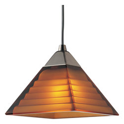 Progress Lighting - P6139-09A Illuma-Flex One Light Flex Track System Brushed Nickel - 12V low voltage T4 mini-pendant with pyramid amber glass
