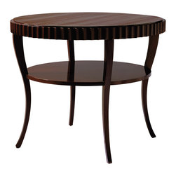 Baker Furniture - Fluted Table - A refined hand planed mahogany top is lightly poised on delicate, slender legs. Whether used as a center or end table, its relaxed hand finish and French polish give it the timeless look of an inherited piece.