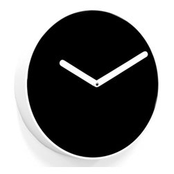 Progetti - BE 1970 Black/White Wall Clock - Wall clock made in wood and PVC. Battery quartz movement.