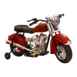 GiGGO Toys Inc - GiGGO Toys Little Vintage Indian Motorcycle Battery Powered Riding Toy Multicolo - Shop for Tricycles and Riding Toys from Hayneedle.com! Based on the vintage 1948 model by Indian Motorcycle this Little Vintage Indian Battery Powered Motorcycle will thrill your little rider. In a classic red color and made of PVC this bike runs up to an hour on a charged battery - which is included - and even goes forward and reverse up to 2 miles per hour. Working headlight and rear lights plus an engine sound make for a great sensory experience! With the attention to detail and awesome old-style color this little ride-on toy will provide hours of fun - make a little one happy today and order yours!