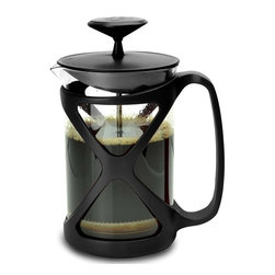Primula - Primula Tempo 6-cup Black French Press - This modern French press consists of a narrow cylindrical glass jug, equipped with a lid and a stainless plunger, which fits tightly in the cylinder glass beaker and which has a fine wire mesh acting as a filter.