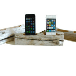 Docksmtih - Driftwood Docking Station for 2 Smartphones - Charge your smart phones on a piece of driftwood. Each piece is of natures design using the wind, sea and sand as it's tools. Our beach driftwood is collected on the coast of Maine and then crafted by us for you.