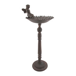 Zeckos - Rustic Cast Iron Fairy and Sunflower Birdbath - This beautiful cast iron fairy and sunflower birdbath has an antiqued brown enamel finish, that makes it look like it's been sitting in your garden for decades The bowl of the birdbath is a well-detailed sunflower, and a tiny fairy sits on the edge of the flower, watching over your bird visitors. The birdbath is 26 inches tall, including the fairy, and is 10 inches in diameter. It will look great in your flowerbed, garden or yard.