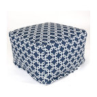 Outdoor Navy Blue Links Large Ottoman