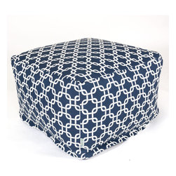 Majestic Home - Outdoor Navy Blue Links Large Ottoman - Roomy and comfy with a fun, modern print, this ottoman could quickly become one of the most coveted items in your house. You'll be pulling it out for an impromptu coffee table on the deck, an extra seat for your kid's buddy on movie night or a cushy footrest for the recliner. The beanbag filling is 50 percent recycled beads and the cover is outdoor-safe and removable for easy cleaning.