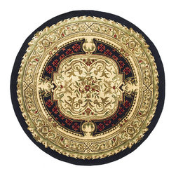 Safavieh - Handmade Classic Black/ Beige Wool Rug (3'6 Round) - Add interest to your home decor with a handmade rugTraditional rug features oriental pattern with rich shades of beige,black,gold,red,green and rustRound rug is crafted of 100-percent wool with cotton backing