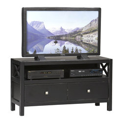 Linon - Linn Anna Collection Black Media Center - Whether your style is traditional or modern,the stunning antique black finish with red rub through on the Anna media center will blend seamlessly into your d�cor. This TV stand has two drawers which provide convenient storage.