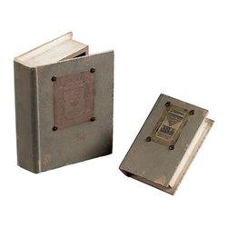 Sterling Industries - Keepsake Book Box Decorative Accessory in Garron Grey Linen, Set of 2 - Set of 2 Keepsake Book Box Decorative Accessory in Garron Grey Linen by Sterling Industries