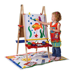ALEX Toys - Magnetic Artist Easel Set - Let your little ones creative side shine with the Magnetic Artist Easel. Dual-sided and with included storage shelves, this childs easel is perfect for multiple-child households. Featuring a chalkboard on one side, magnetic white board on the other and an included paper roll, this art easel provides three creative play options for unlimited artistic fun! Features: -Includes paper roll, sturdy paper cutter, two easel clips and two molded trays -Naturally finished hardwood construction -Recommended for ages 3 and up -Dual-sided chalkboard and magnetic whiteboard design -Collapsible for storage -Height-adjustable -Molded tray holds cups, paints and brushes -Paper roll measures 1.5' W x 75' L -Adult assembly required
